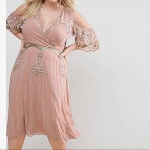 ASOS Curve embellished dress cold shoulder midi